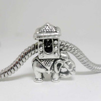 Wholesale DIY jewelry accessories big hole tibetan silver elephant fit pandora bracelet beads animal alloy beads x14x8mm