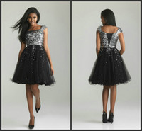Wholesale 2013 Cheap Sequin and Tulle Lace up Bling Homecoming Dress Cap Sleeves Modest Short Cocktail Dresses