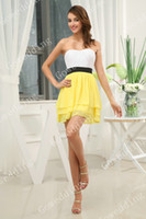 Wholesale Lovely white yellow strapless ruffle black sash Mini Junior Bridesmaid dresses party prom gowns D312