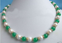 Wholesale 18 inch Charming white pearl green jade mix necklace
