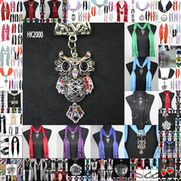 Wholesale scarf jewelry with beads pendant scarves jewellery fashion charms necklace Mix color amp design HK2000