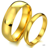 Unisex Party Stainless Steel BEST SELLING YELLOW GOLD PLATING COUPLE RINGS SIMPLE CLASSICAL STYLE FOR WEDDING FREE SHIPPING 316