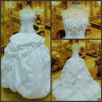 Wholesale 2012 Hot Classic Strapless Ball Gown Sweep Train Embroidery Designs Wedding Dresses Bridal Gowns