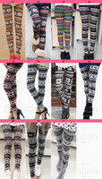 Wholesale 10 New Arrivals Lady Nordic Deer Snowflake Knitted legging Leggings Tights Pants