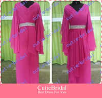 Real Photos V-Neck Chiffon Free Shipping V-neck Chiffon Oversized Arabic Evening Dress With Long Sleeves Evening Gown