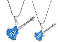 Wholesale popular titanium stainless steel guitar pendant couple lover necklace steel beads chain valentine