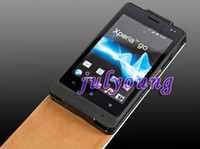 Wholesale Genuine flip Leather Case For Sony Ericsson xperia go ST27i pouches pouch skin clip cases