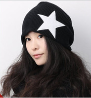 Wholesale Fashion Cheap Star Hat Caps Adult Women Men Knitting Wool Hats Beanie Colors YA2242