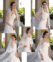 Wholesale 2013 Mix Order Tulle Lace Beaded Edges Wedding Veils Floor Length Custom Made Bridal Veil