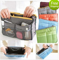 Wholesale Multifunction Portable Insert Handbag Purse Large liner Organizer Bag Storage Bag in bag Dual Color
