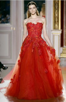 Reference Images Strapless Tulle Sexy Arabic A Line Strapless Beaded Embroidery Appliques Red Evening Pageant Dress Gowns Tulle Skirt