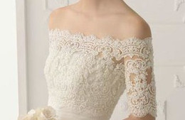 Wholesale Real Elegant Off Shoulder Wedding Accessory Shawl Bolero Wrap Jacket Lace Half Sleeves Fashion