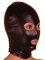 Wholesale Free P amp P Sexy lycra spandex zentai Metallic black mask Open Eyes amp Mouth Back has a zipper size S XXL