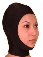 Wholesale Free P amp P Sexy lycra spandex zentai Metallic black mask Open Face Back has a zipper size S XXL