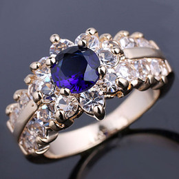 Gold Filled 6.0mm Round Cut Blue Sapphire Cocktail Ring for Women Size 8 GF J7511