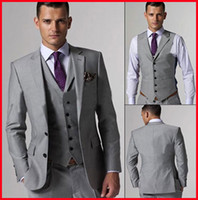 Reference Images Tuxedos Three-piece Suit Hot Selling Customed Silver Mens Suits Bridal Groom Suits Tuxedo Jacket+Pants+Vest+Tie Handsome New men wedding suits