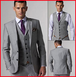 Wholesale Hot Selling Customed Silver Mens Suit Bridal Groom Suits Tuxedo Jacket Pants Vest Tie Handsome New
