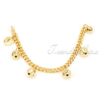 Wholesale Kids Baby Curb Chain GF Jewelry K Gold Filled Four Bell Charm Bracelet GB107