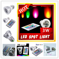 Wholesale 30 Degrees LED W RGB spotlight E27 Wireless Remote Control RGB Flash LED Spot Light Bulb Lamp