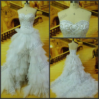 Wholesale Vogue Sweetheart Embroidery Designs Hi lo Layered Tulle Wedding Dresses Beaded Bridal Dresses