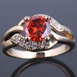 eLuna 7mm Round Red Garnet Lady Fashion Ring Size 8 Gold Filled Band GF J7487