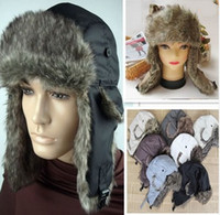 Wholesale Mens Earflap Russian Trapper Trooper Bomber Winter Snow Ski Faux Fur Hat Cap