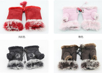 Wholesale 10Pairs Ms Gloves Girls Xmas Plush Mittens Lady Women Winter Keep Warm Cony Hair Villi Gloves