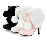 Bon Marché Taille 34 talon rose-Plate-forme Bottes 2015 chaussures de mode féminine mignon Pompes Boot chaussures à talons hauts de taille Bottes Lady Blanc Rose Noir: 34-43 # 3662