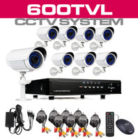 Wholesale 8 Channel Surveillance DVR Recorder LED TVL Built in IR CUT indoor outdoor Weatherproof S