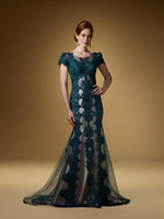 Wholesale 2013 Sexy Green Cap Sleeve Mother of the Bride Dresses Evening Dresses Gown Lace Material RD
