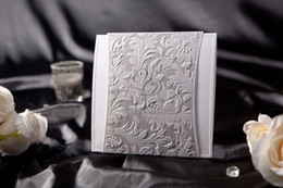 Wholesale Classic Style Whit Silver Wedding Invitation cards set of