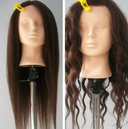 Wholesale Lifelike Cosmetology Mannequin Head Support Clamps Sponge cm Brown Makeup Coil Up Hair Practice