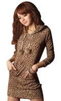 Wholesale 270 women new fashion leopard print long sleeve hooded hoodies sweatshirts ladies autumn mini dresses with pockets cotton