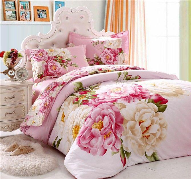 Elegant Pink Flower Girls Bedding Set Queen King Size 100 ...