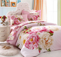 Wholesale Elegant pink flower girls bedding set queen king size Cotton floral pattern comforter duvet cover bed sheet bedclothes home textile