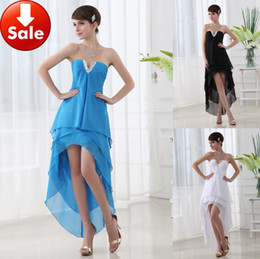 Wholesale Cheap Modern Graduation Dresses Blue Black White Beads Chiffon Short front long back Homecoming Party Prom dresses