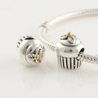 Wholesale Solid Sterling Silve Cupcake Bead Fits European Style Charm Bracelets