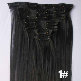 Wholesale 22 quot Full Head Clip In GradeAAA Synthetic Hair Extension Black Brown Blonde optional set g set High Quality