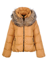 Women down coats elegance yellow soft fox fur at collar 90% goose down light warm free shipping