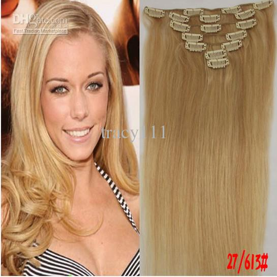 Cheap Remy Clip In Human Hair Extensions 75