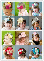 Headbands Cotton other hot sell!!Top Baby hair band girls' large flower crochet hair bow clip baby headband kids hairlace