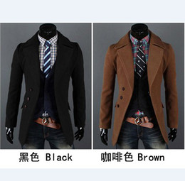 Wholesale 2012 Plus size men wool coats long sleeve lapel slim topcoats brief style christmas men s outers
