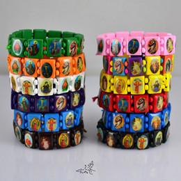 Mix Colors Catholic Wooden Rosary Beads Bracelet Holy Icon Jesus Stretch Bracelets Religious Jewelry