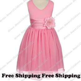 Wholesale Amazing A line V neck Tea length Flower Embellishing Flower Girl Dress gril dresses