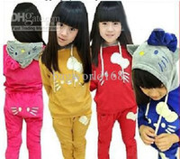 Wholesale Baby clothes Children Velvet tracksuits sport suits kids girls hoodies coat pants set