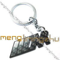 Wholesale TOP Real Carbon Fiber D Key Chain Keyring with Black Box KEY001