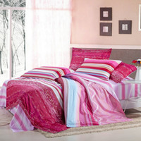 Wholesale Cotton Duvet Quilt Doona Cover Queen Size Strap Checked AB Pattern Morden Style Pink Red Promotion