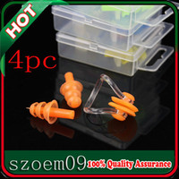 Wholesale New Boxes Soft Silicone Swimming Set Nose Clip Ear Plug Earplugs With Case For Swim Pool Lake