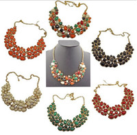 Wholesale New Arrival Vintage Style Statement Colorful Resin Rhinestone Drop Gem Bib Choker Necklace