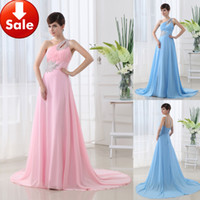 Cheap Simple One shoulder Blue Pink Beads Chiffon Long Forma...